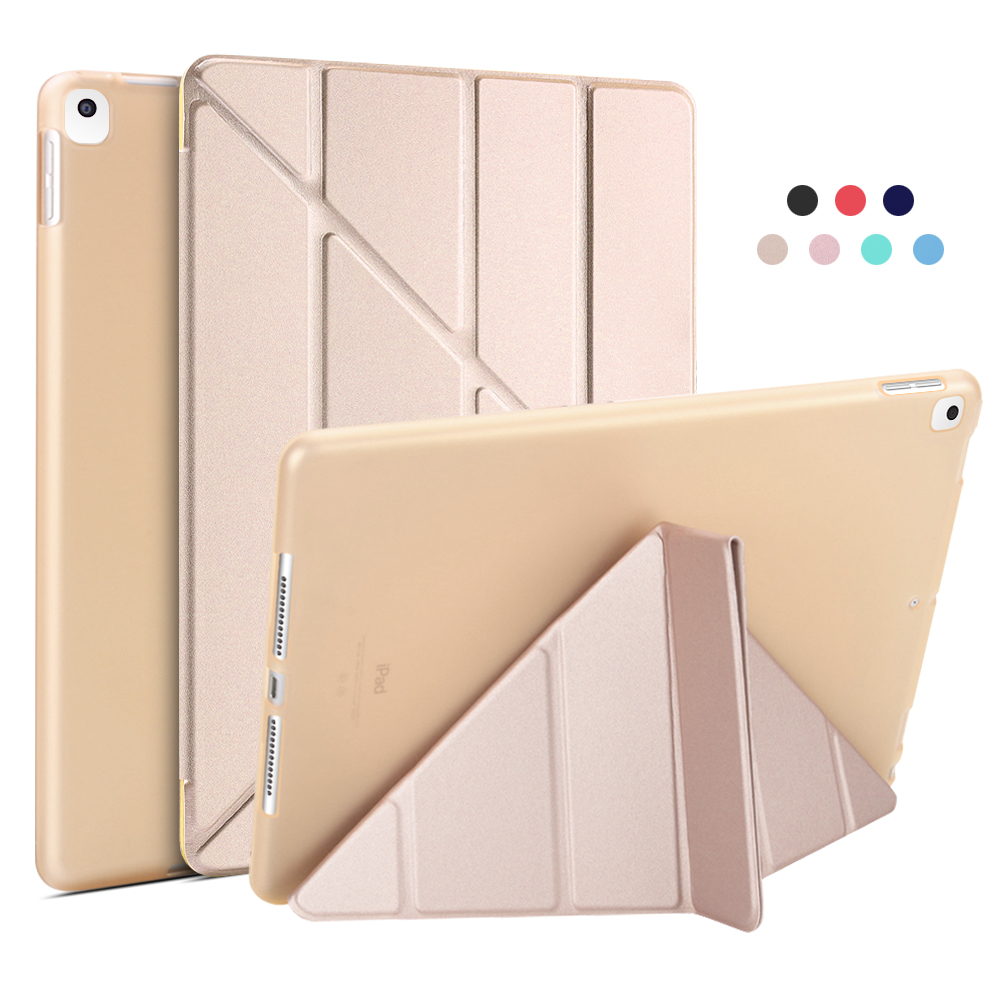 Gold Gold For iPad 10 2 Case 2020 2019 PU Leather Multi Fold Stand Smart Cover For iPad