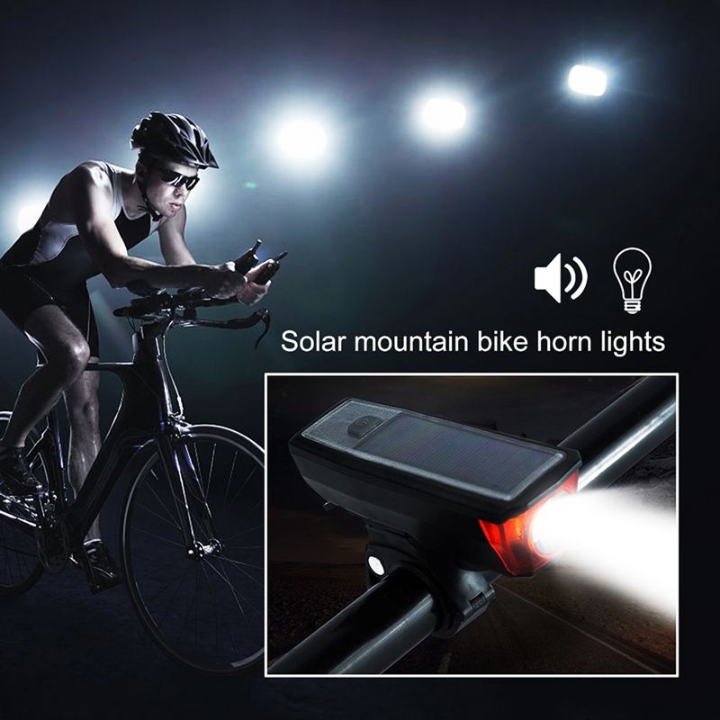Cycling Solar Power Led Light Waterproof Usb Rechargeable Bike Front Headlights