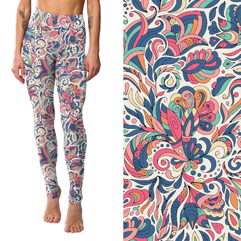 TOIVOTUKSIA Womens Leggings Printed Flower Pants Plus Size Lycra Spandex Waistband Elastic Fitness Pant