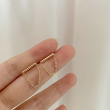 Chain-Earrings Tassel Minimalist Straight Jewelr Gifts Geometric Gold-Color Women Simple