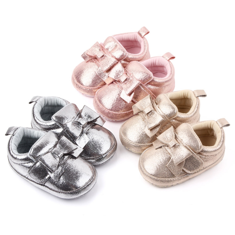 Baby Girl Shoes Girls PU Princess Bow Shoes Bowknot Lace Up Glitter Crib Sole Sneaker For Baby