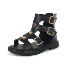 New Leather Girls Sandals Roman Children Summer Shoes 2020 G