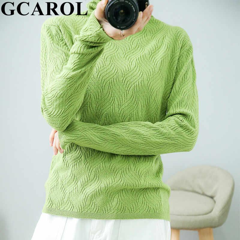GCAROL ฤดูหนาว Minimalist Jacquard Floral เสื้อกันหนาวขนสัตว์ 30% คอเต่าหนา OL สวมใส่ทุกวันถักจัมเปอร์ SLIM FIT M-2XL