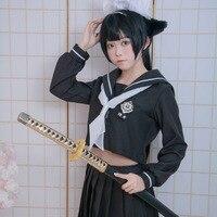 Hight Quality Anime Kantai Collection Takao Atago JK School Uniform Woman Cosplay Costume Top + Skirt