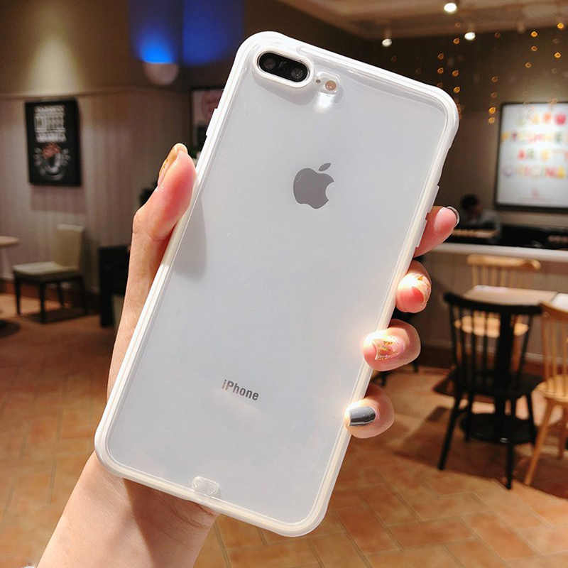 Lovebay Tahan Guncangan Bumper Transparan Silikon Phone Case untuk iPhone 11 Pro X XR X MAX 8 7 6 6S plus Jelas Lembut TPU Penutup Belakang