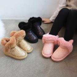Bling cekiny buty dziewczęce zimowe buty dla dziewczynek różowe buty dzieci ciepłe sierść królika śnieg buty dzieci Ugs styl Plus rozmiar 27 36 w Buty od Matka i dzieci na