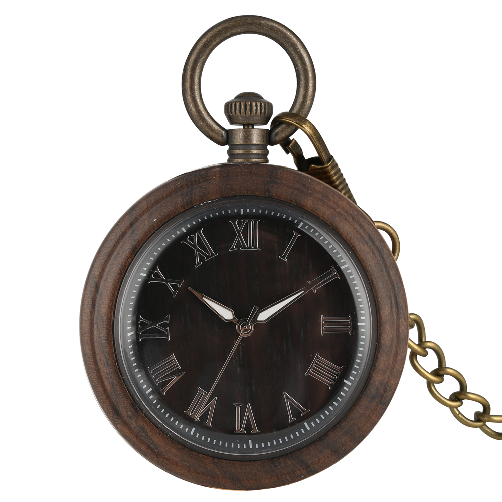 Retro Ebony Wooden Quartz Pocket Watch Luminous Needle Environmental Protection Natural  Ecological Wood Men's Women Watch Gifts