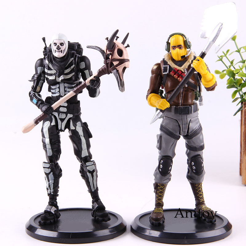 Action Figure Raptor / Skull Trooper Fortress Night Battle Royale PVC Hot Game Collection Model Toy Gift For Kids
