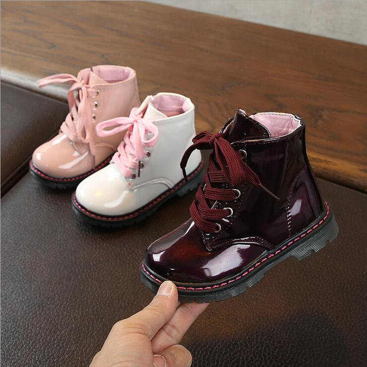 2020 New Girls Leather Boots Boys Shoes Spring Autumn PU Leather Children Boots Fashion Toddler Kids Boots Warm Winter Boots