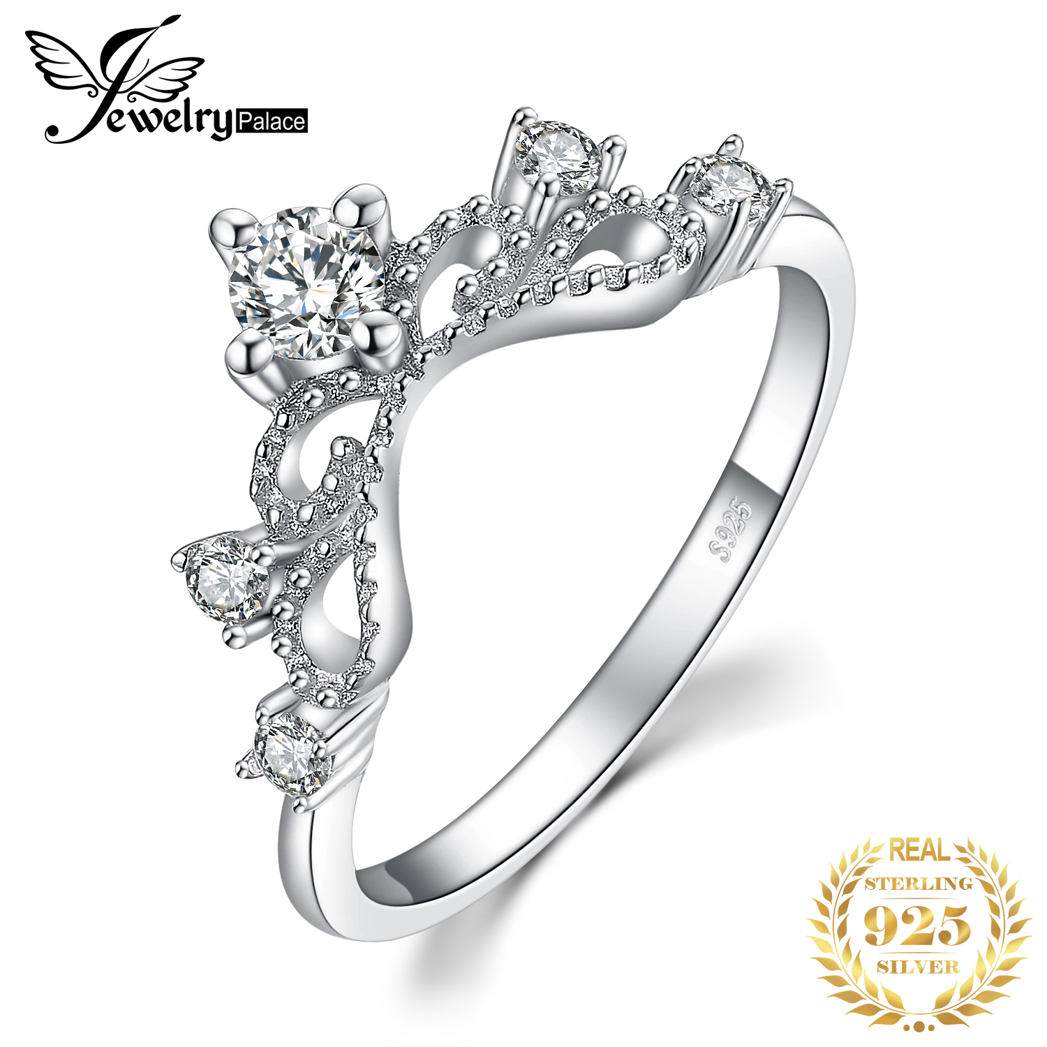 JewelryPalace Princess Crown 0.6ct Cubic Zirconia Anniversary Promise Ring Wedding Engagement Ring 925 Sterling Silver Ring