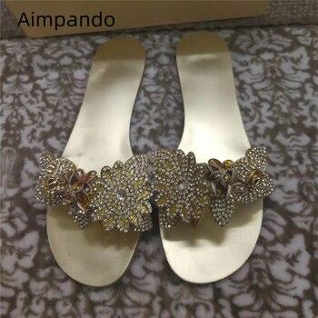 Chic Crystal Flower Flat Slippers Women Open Toe Summer Flats Luxury Rhinestone Decor Beach Slides For Woman 2020