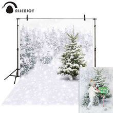 Allenjoy christmas photo background new year tree winter snow snowflake family  photobooth studio backdrop for photography