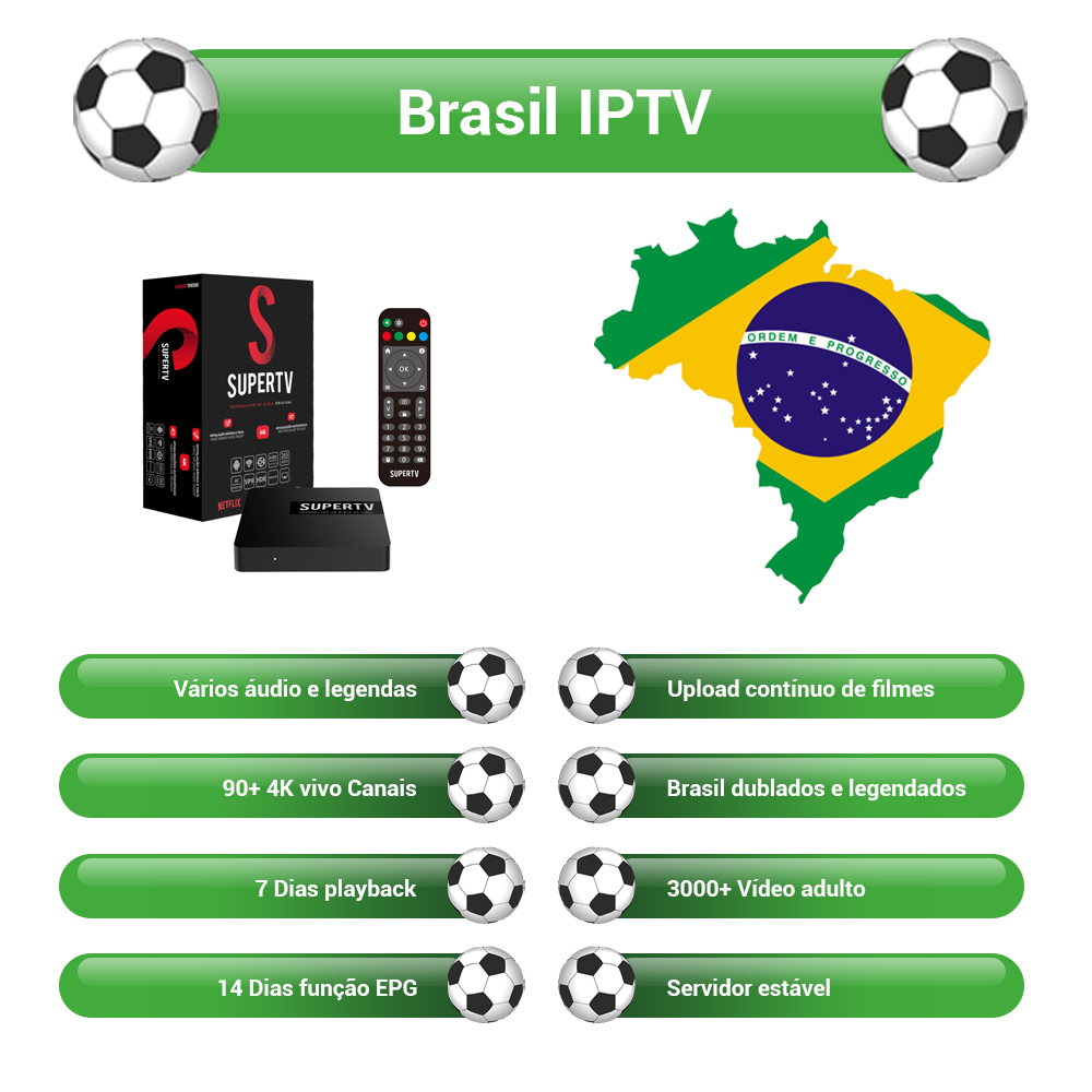 Brasil IPTV Server 3000+ Hot Club Vod+Live For Supertv Black Android TV Box Stable HD 4K 750+ Channels Supertv IPTV Brazil