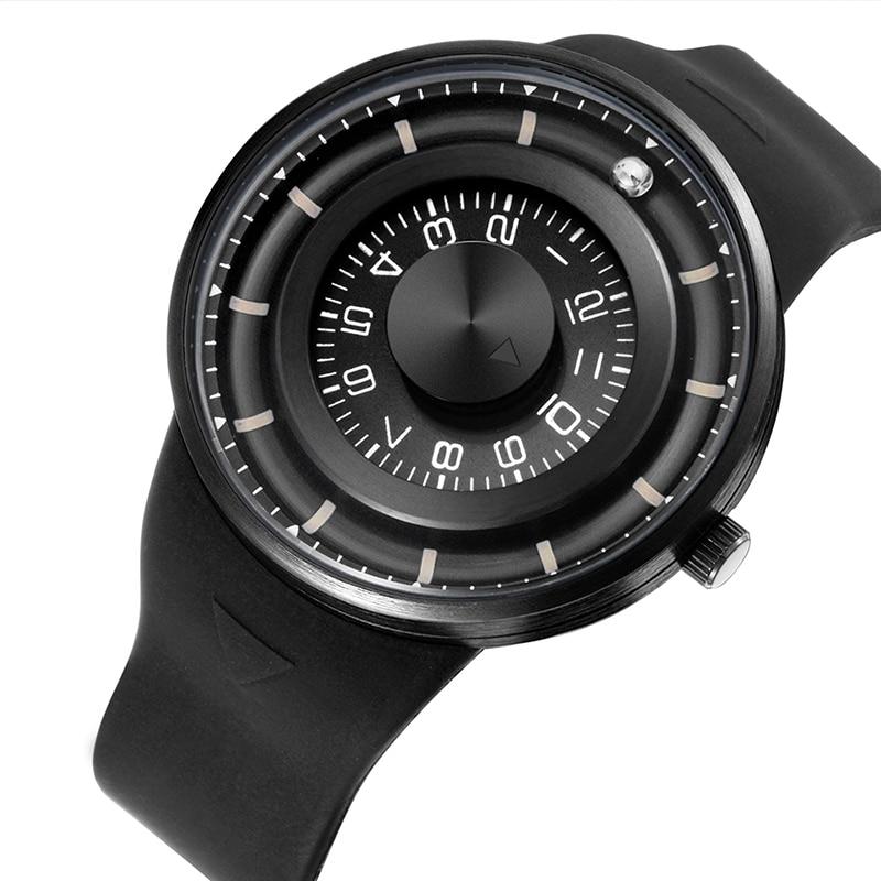 Brand Skone Eco-friendly Silicone Watch Men's Watch Luxury Sports Waterproof Men's Clock Rotary Dial Magnetic Ball Watch Men