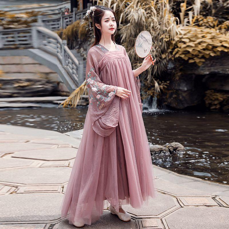 2019 Han Yuan éloquent chang qi poitrine veste jupe style chinois Antique fée amélioré chinois vêtements frais Antique Cos