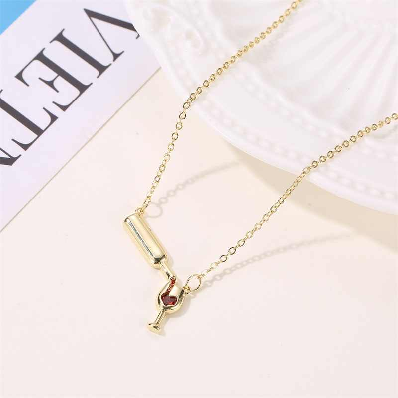 Lover's Gifts Female Girl Women Girl Friend Gold Silver Color Heart-shaped Rhinestone Wine Bottle Goblet Pendant Charm Necklace