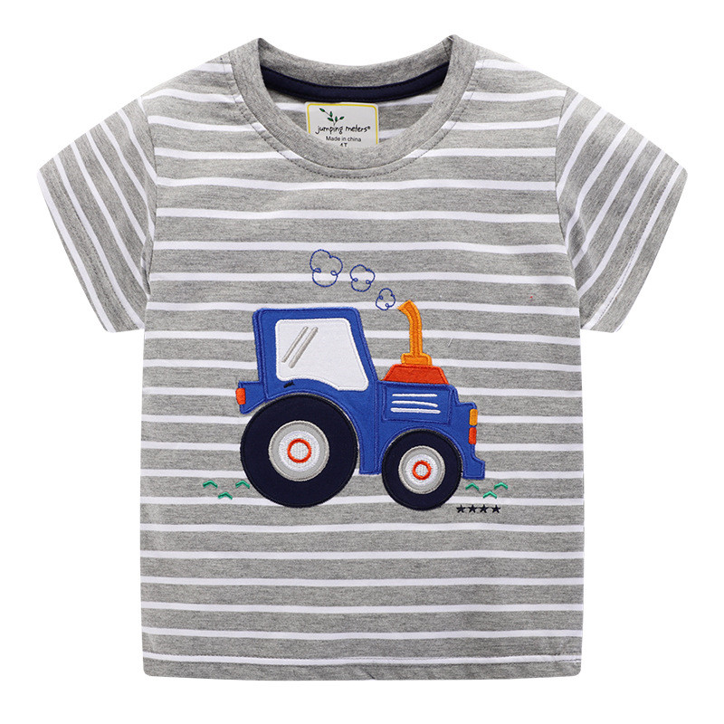 Jumping Meters New Boys Cotton Tops for Summer Children Clothes Hot Selling Stripe Applique tractor Kids T shirts 8