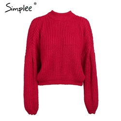 Simplee Winter lantern sleeve knitted sweater pullover Women loose round neck red sweater Female autumn casual sweater jumper 6