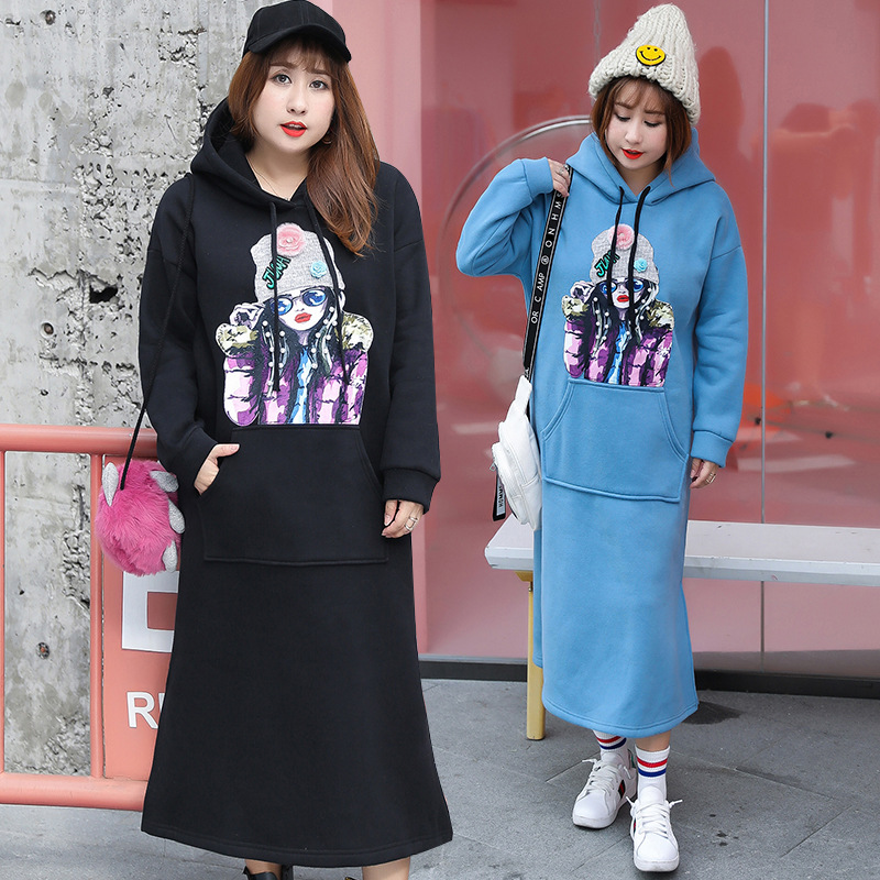 Autumn And Winter New Style Fat Mm Large Size Long Korean-style CHIC Casual Sweatshirt Skirt Plus Velvet Dress A Generation Of F