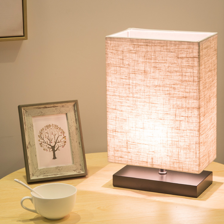 Modern Simple Rectangular Table Lamp Wooden Base Bedroom Bedside LED Lamp Japanese Study Table Lamp Linen