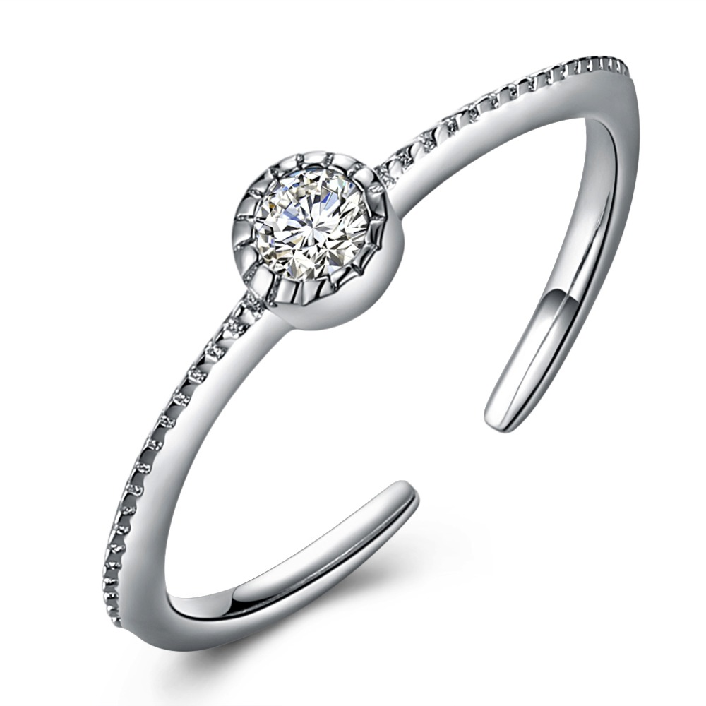 V106 Классический роскошный кольцо из стерлингового серебра 925 циркониевое свадебное Ювелирное Украшение кольца Обручальное для женщин Открытое кольцо