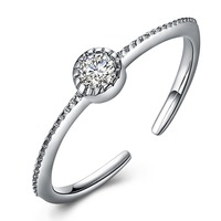 V106 Classic Luxury 925 Sterling Silver Ring Zircon Wedding Jewelry Rings Engagement For Women open ring