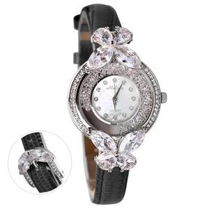 Image 1 - Bowknot Crystal Clock Lady Womens Watch Hours Japan Quartz Fashion Bracelet Leather Shell Luxury Rhinestones Girls Gift Box