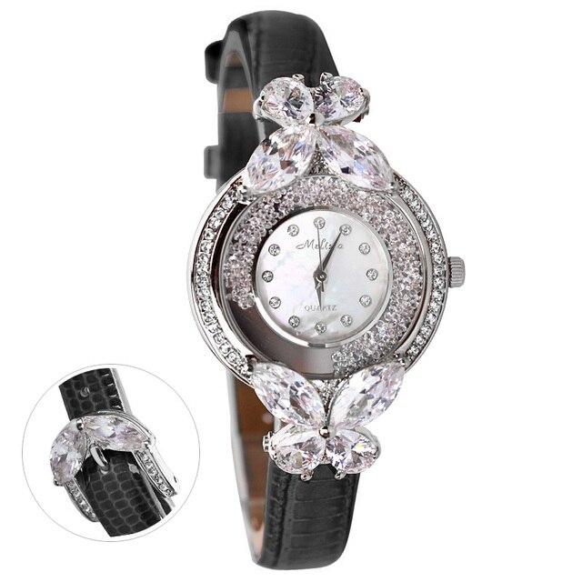 Bowknot Crystal Clock Lady Womens Watch Hours Japan Quartz Fashion Bracelet Leather Shell Luxury Rhinestones Girls Gift Box