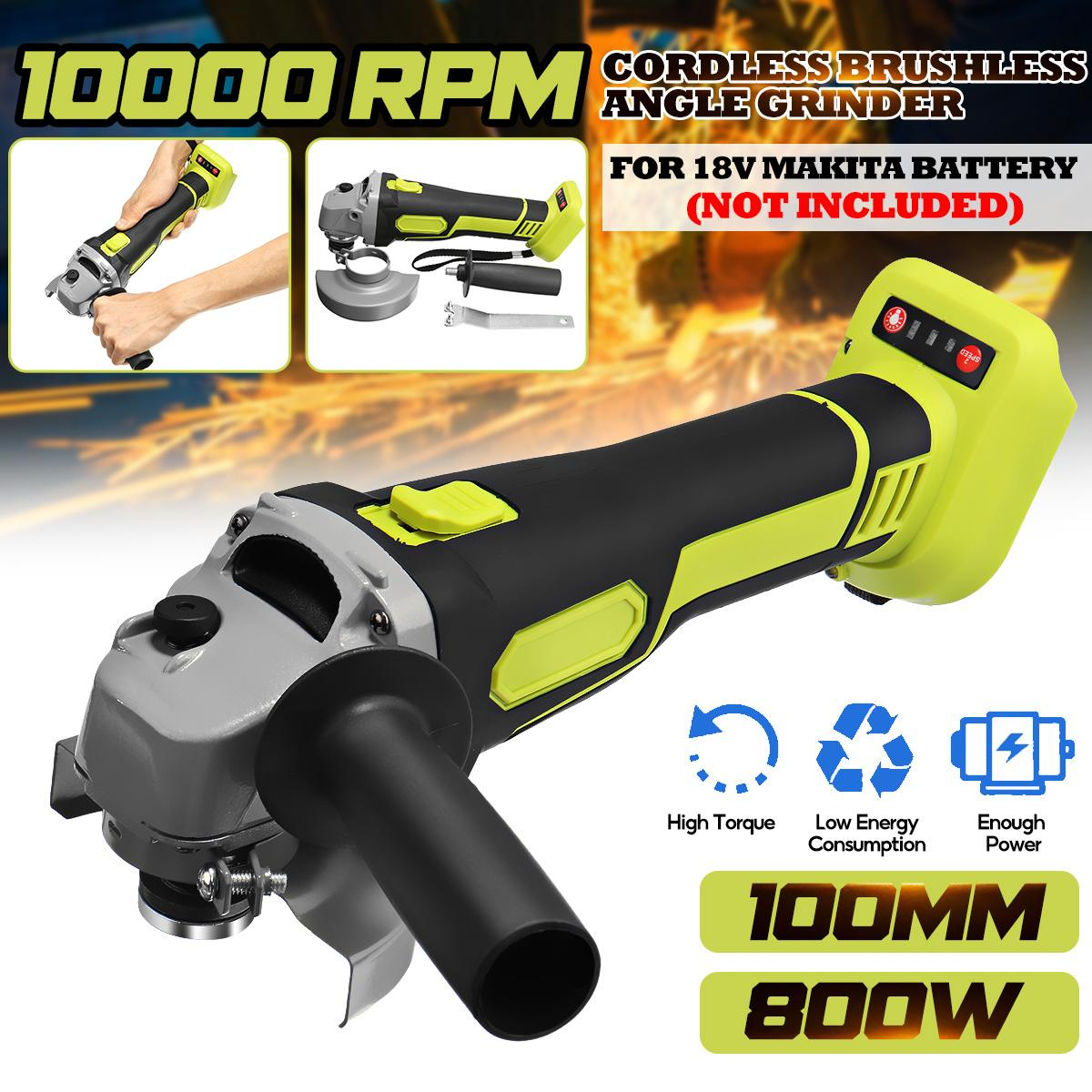 100mm For Makita 18V Brushless Cordless Impact Angle Grinder DIY Power Tools Electric Polishing Grinding Machine Without Battery
