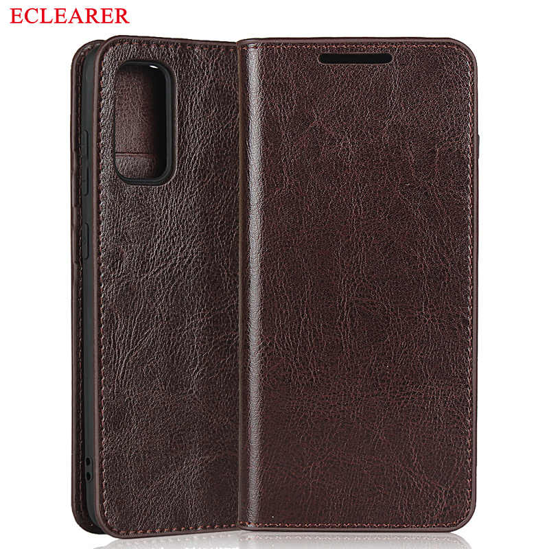 ECLEARER Wallet Case For Samsung Galaxy S20/ Plus/ Ultra Genuine Leather Case Vintage Card Slots Flip Cover For Samsung S20 Plus