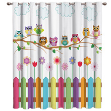 Cartoon Kid Cute Owl Window Curtains Dark Window Blinds Living Room Decor Bedroom Fabric Kids Curtain Panels With Grommets
