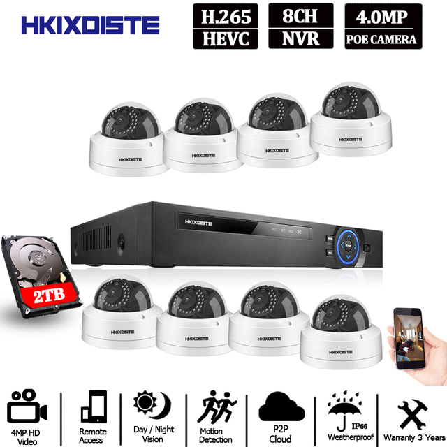 H.265 POE NVR 8CH IP كاميرا 16CH 5MP نظام 8 قطعة 48 فولت سوبر واضح 4MP الأمن قبة IP طقم كاميرا CCTV المراقبة بالفيديو NVR مجموعة
