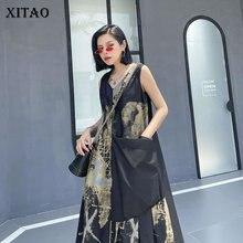 XITAO Occident Vintage Print Dress Women Loose Plus Size Wild Pleated Sleeveless