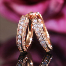 VAGZEB 3 Color Available Delicate Hoop Earrings for Women Micro Paved CZ Zircon Stone Wedding Party Daily Wear Classic Jewelry