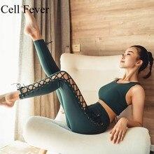 купить Yoga Set Women Bandage Workout Set Fitness Clothing Sportswear Gym Leggings Padded Push-up Strappy Sports Bra 2 Pcs Sports Suits дешево