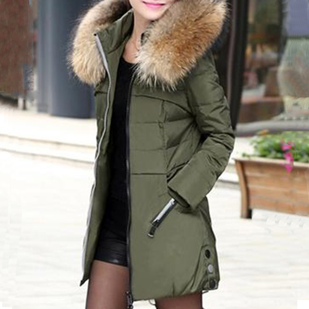 Autumn Winter Coat Jacket Women Hooded Thick Warm Long Outerwear Female Elegant Office Slim Cotton   Parkas   Coats Green Black