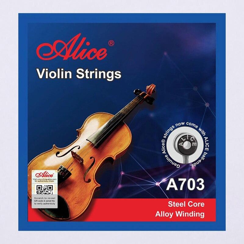 Juego de 20 cuerdas de violín 4 piezas E A D G para 1/8 1/4 1/2 3/4 4/4 Tamaño común-Alice A703 8 unids/pack mandolina cuerdas cadena conjunto E/D/G de acero inoxidable importado mercerizado cuerdas Accesorios para Instrumentos Musicales