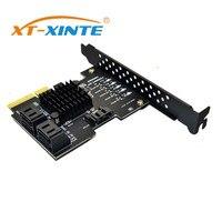 XT XINTE SATA 3.0 to PCIe Expansion Card 5 ports 4X Gen 3 PCI Express SATA Adapter SATA 3 Converter with Heat Sink JMS585 Chip