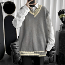 Men Sweater Vest Knitted Korean-Style V-Neck Chic Male Streetwear Patchwork Panelled