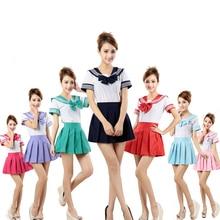 7 цветов японская школьная форма Аниме COS костюм моряка Топы+ галстук юбка JK темно-синий Стиль студентов Одежда для девочек