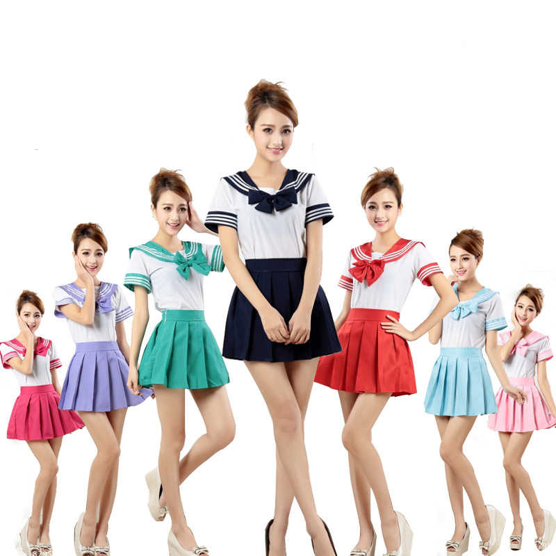 7 colores uniformes de Escuela Japonesa Anime COS Sailor Suit tops + tie + skirt JK Estilo marinero ropa de estudiantes para niña