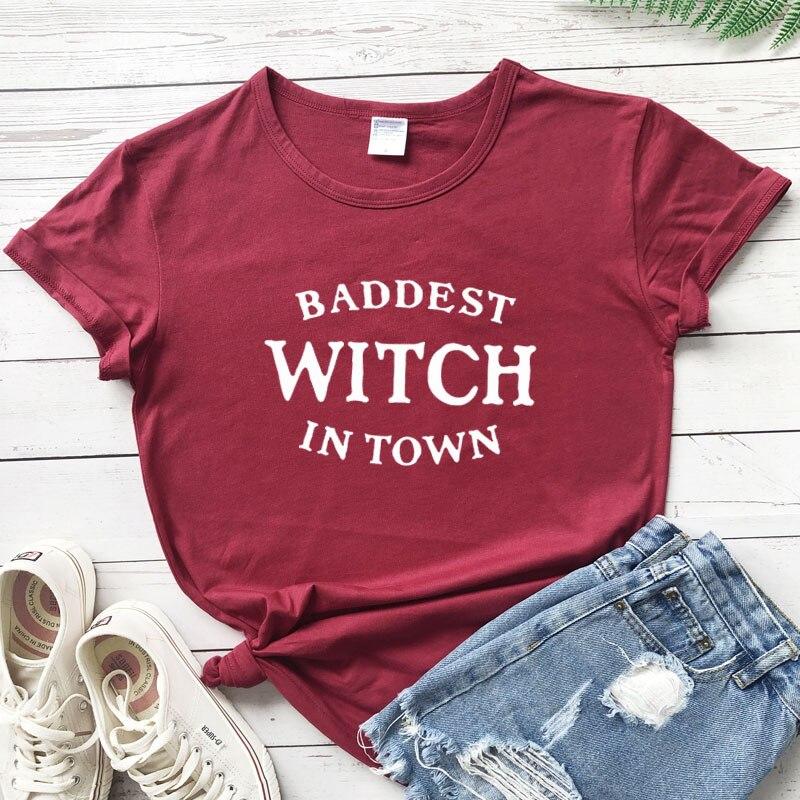Ladies baddest witch in town tshirt
