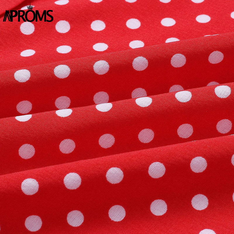 Aproms Boho Polka Dot Print Dress Women Casual Sleeveless V Neck Red Sundress Midi Dress female Beach A-line Dress Vestidos 2020 5