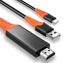 Cable usb tipo c a HDMI, 2m, 4K, 60Hz, 30Hz, 1080P, fuente de alimentación HD para teléfono, proyector de HDTV