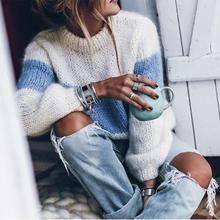 Long Sleeve Mohair Color Block Sweater Women Pullovers 2019 Winter Autumn Casual Knitted Striped Fuzzy Fluffy