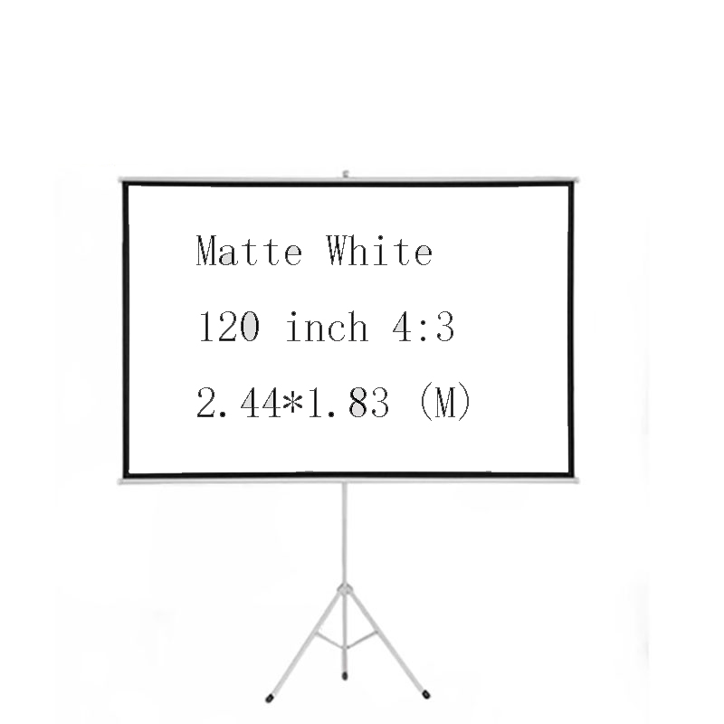 Thinyou 120 Inch 4:3 Matt White Portable Pull Up Braceket Projector Screen For HD Movies Projection with Stable Stand Tripod image