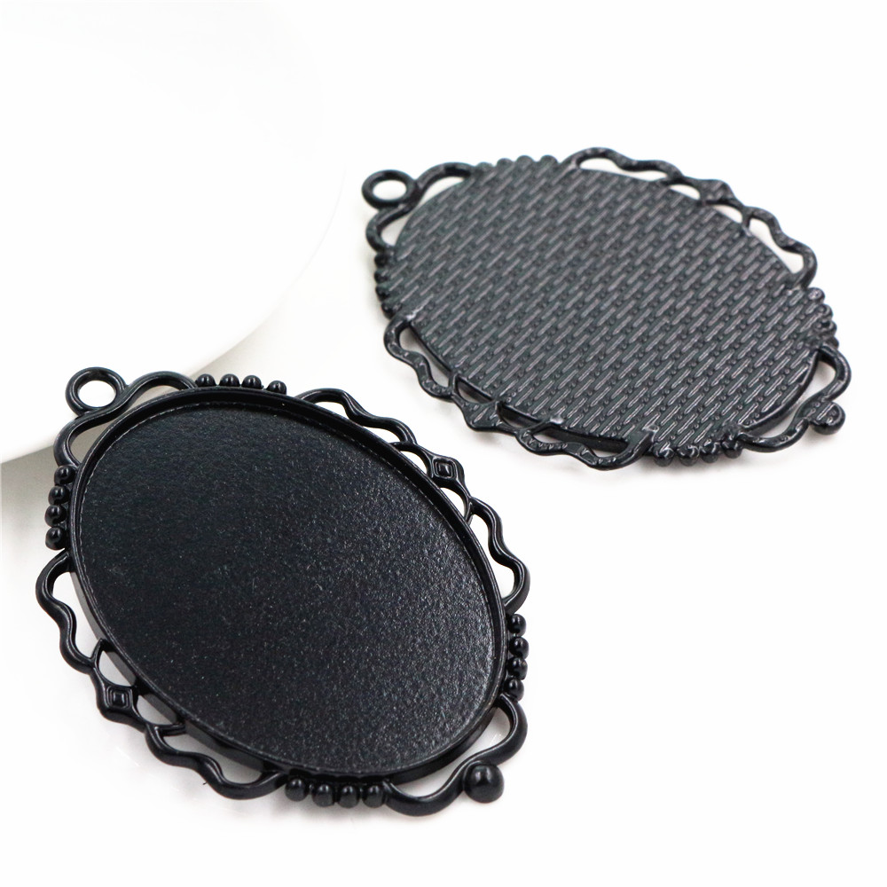 New Fashion 5pcs 30x40mm Inner Size Black Pierced Style Cabochon Base Setting Charms Pendant (B2-28)