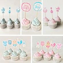 Toppers de cupcake de chá de bebê, decoração azul do chá de bebê, evento de festa de aniversário de crianças, 12/18/peças suprimentos para festas