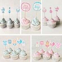 Cupcake de bebé para la ducha, 12/18/20 piezas, adornos para fiesta de cumpleaños, azul
