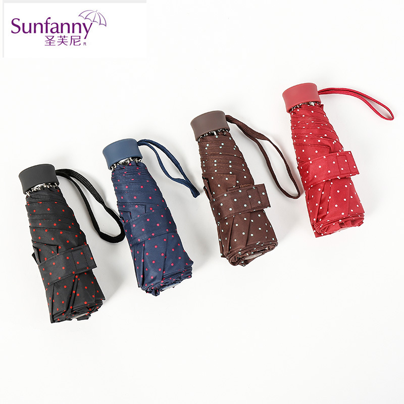Factory Supply Korean-style Fashion Creative Parasol 8 Bone Touch Wax Cloth Fine Dots Half Off All-Weather Umbrella